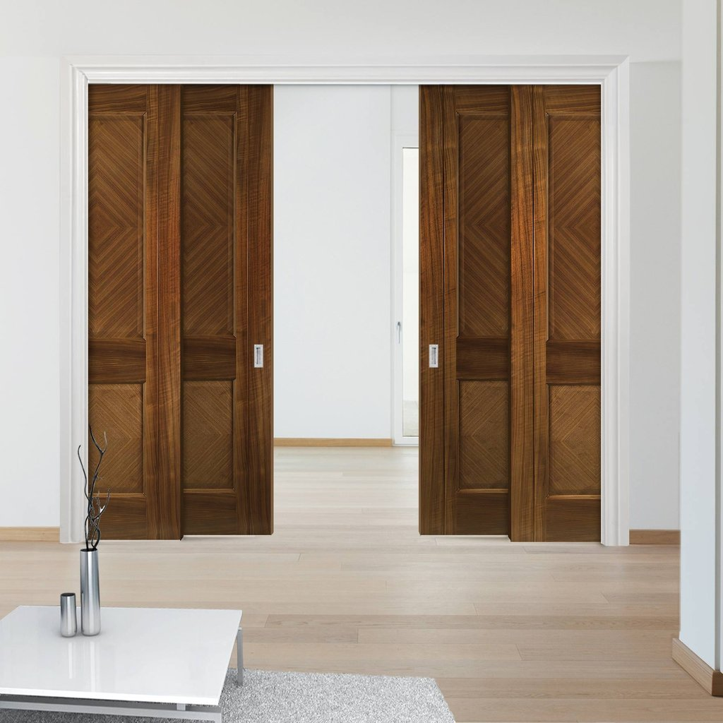 Kensington Walnut Veneer Staffetta Quad Telescopic Pocket Doors - Prefinished
