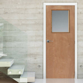 Image: STP Flush Plywood Kigog Fire Door - 1/2 Hour Fire Rated -  Wired Fire Glass