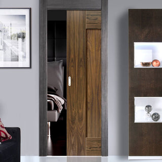 Image: Symmetry Axis Shaker Walnut Single Evokit Pocket Door Panelled - Prefinished