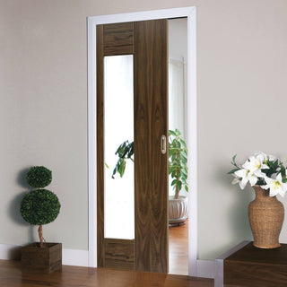 Image: Axis Shaker Walnut Single Evokit Pocket Door - Clear Glass - Prefinished