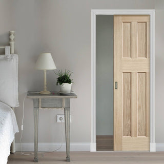 Image: DX 60's Nostalgia Oak Panel Single Evokit Pocket Door