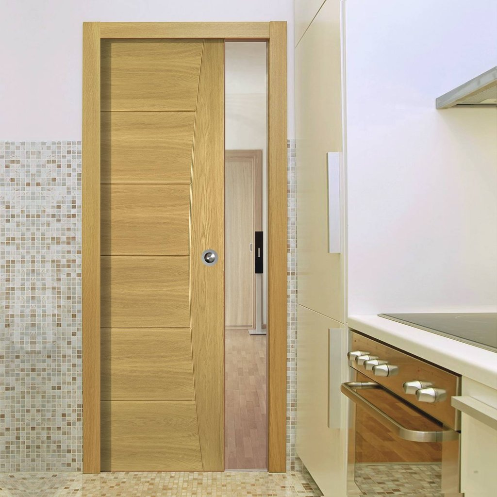 Pamplona Oak Flush Single Evokit Pocket Door - Prefinished