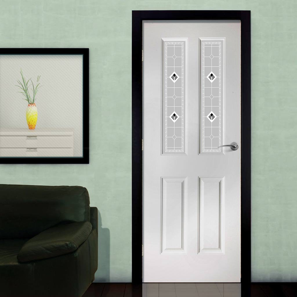 White PVC grainger door with grained faces black fusion style toughened glass