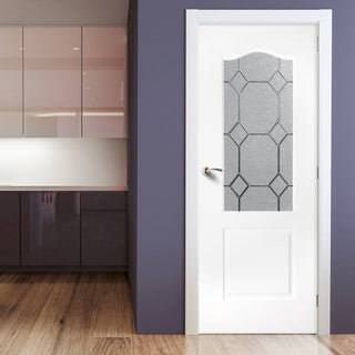 Image: White PVC classic door with grained faces queen anne style toughened glass