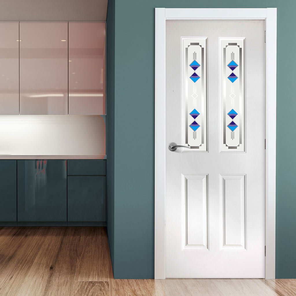 White PVC grainger with grained faces fusion 2 blue style toughened glass