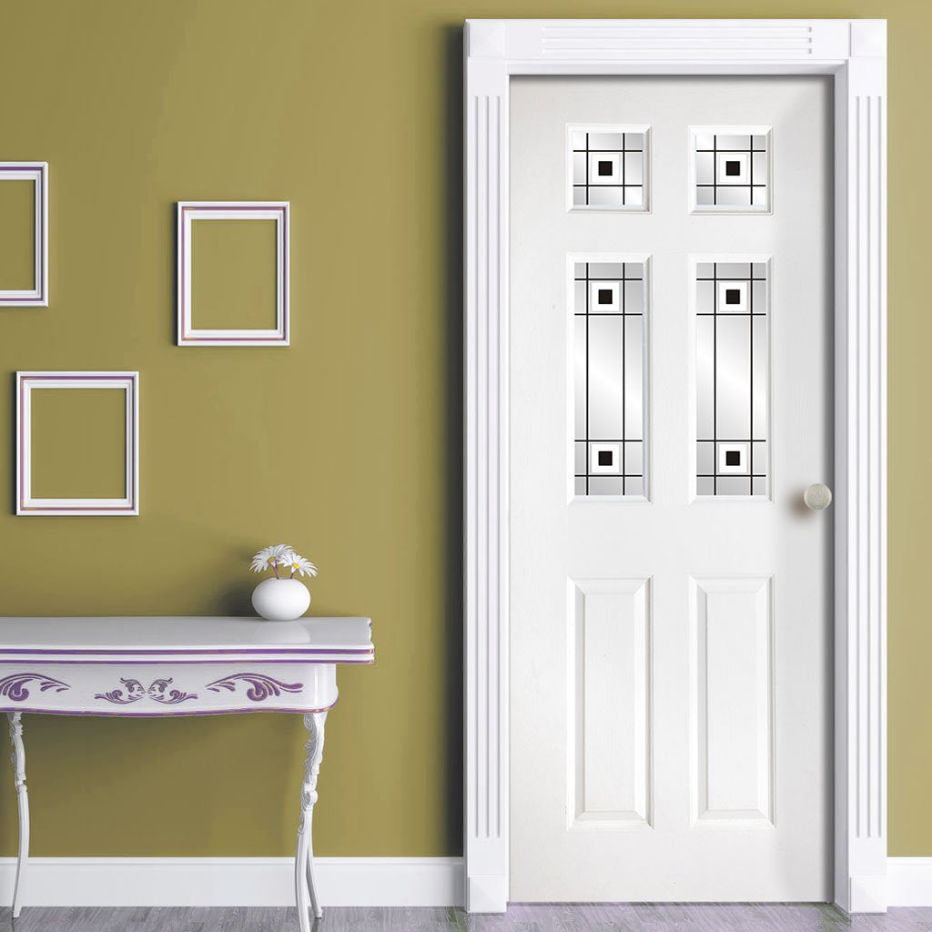 White PVC washington door with grained faces 4 decraresin 3 style toughened glass