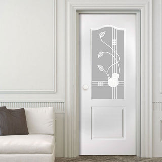 Image: White PVC classic door with grained faces sandblast macintosh style toughened glass