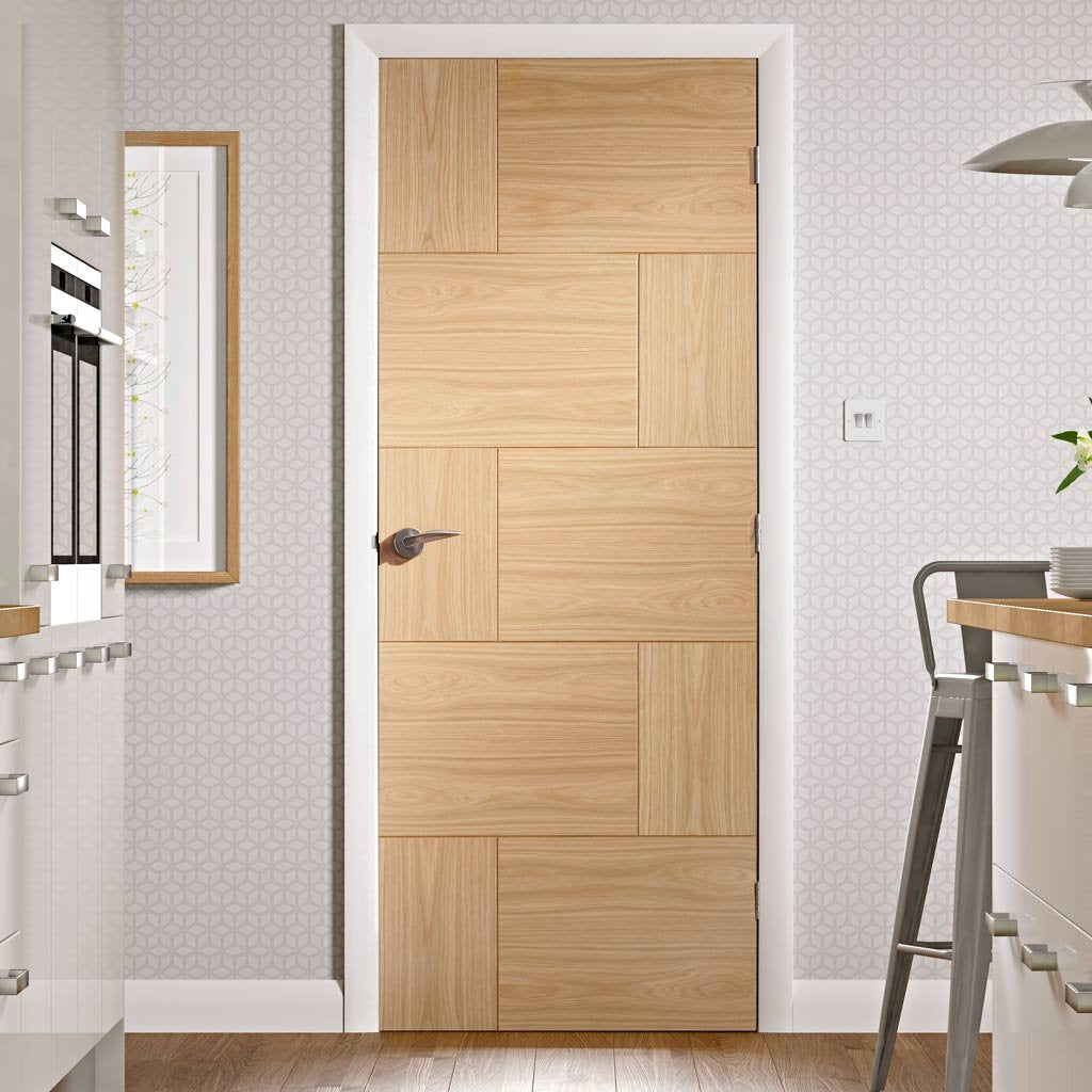 Bespoke oak flush modern door