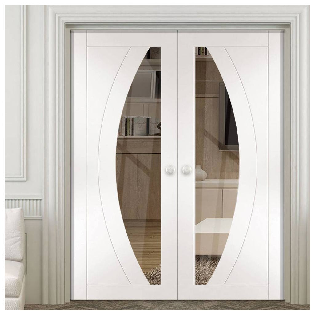 Salerno White Primed French Door Pair Clear Glass
