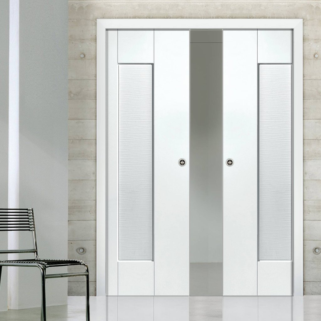 Axis Ripple Double Evokit Pocket Doors - White Primed