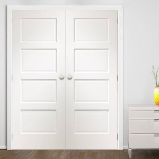 Image: Bespoke Severo White 4 Panel Door Pair - Prefinished