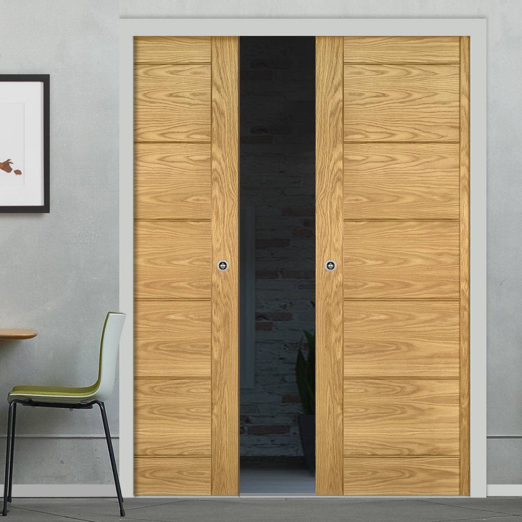 Seville Oak Panel Double Evokit Pocket Doors - Prefinished