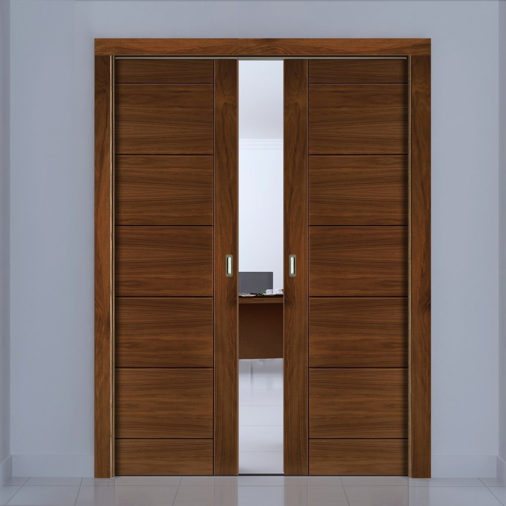 Seville Walnut Double Evokit Pocket Doors - Prefinished