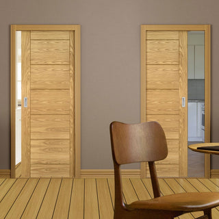 Image: Seville Oak Panel Unico Evo Pocket Doors - Prefinished