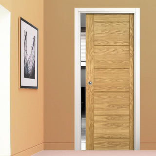 Image: Seville Oak Panel Evokit Pocket Fire Door - 1/2 Hour Fire Rated - Prefinished