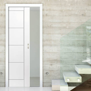 Image: Quattro Smooth Moulded Panel Evokit Pocket Fire Door - 30 Minute Fire Rated - White Primed