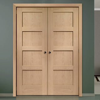 Image: Bespoke Shaker Oak 4 Panel Door Pair - Prefinished