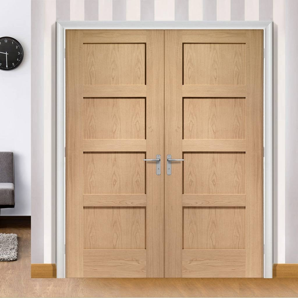 Bespoke Shaker Oak 4 Panel Door Pair