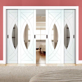 Image: Four Sliding Doors and Frame Kit - Treviso Oak Door - Clear Glass - White Primed