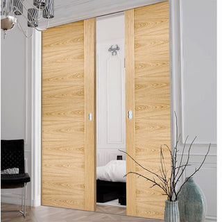 Image: Sofia Oak Solid Internal Double Evokit Pocket Doors - Prefinished
