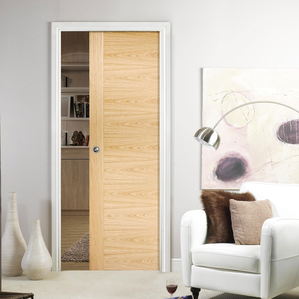 Sofia Oak Solid Single Evokit Pocket Door - Prefinished