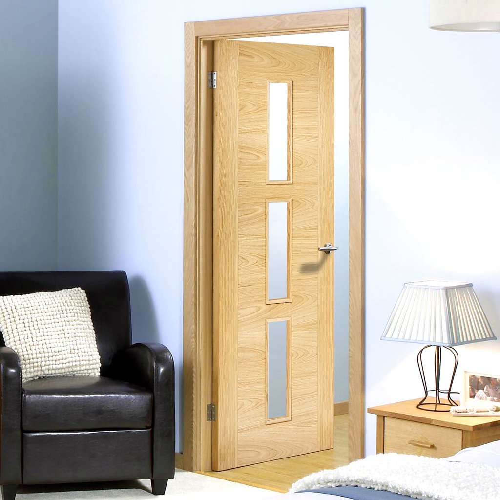 Sofia 3 Pane Oak Internal Door - Clear Glass - Prefinished