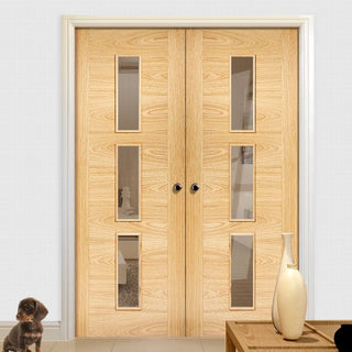 Image: Sofia 3 Pane Oak Door Pair - Clear Glass - Prefinished