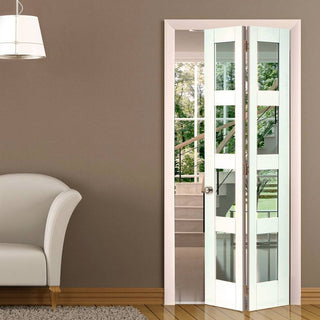 Image: Cayman White Primed Bifold Door - Clear Glass