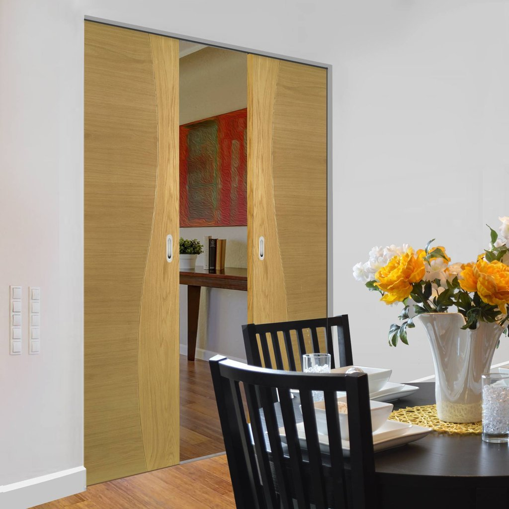 Cadiz Oak Absolute Evokit Double Pocket Doors - Prefinished