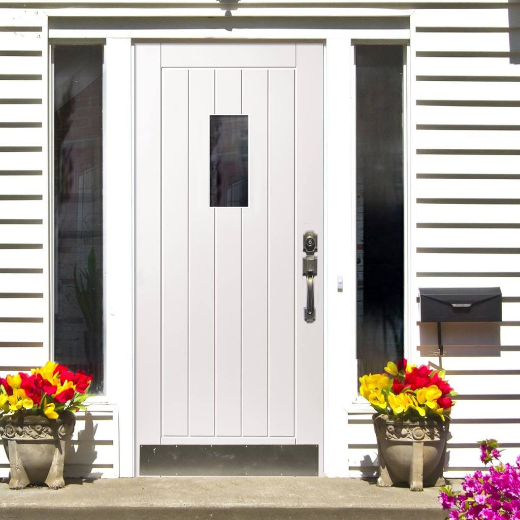 JBK Thames Extreme Weather White Door - Clear Glass