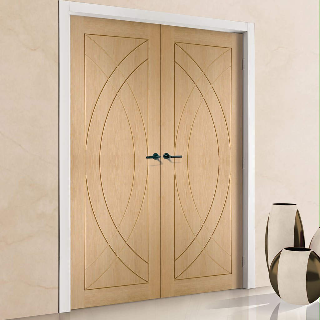 Bespoke Treviso Oak Flush Door Pair - Prefinished