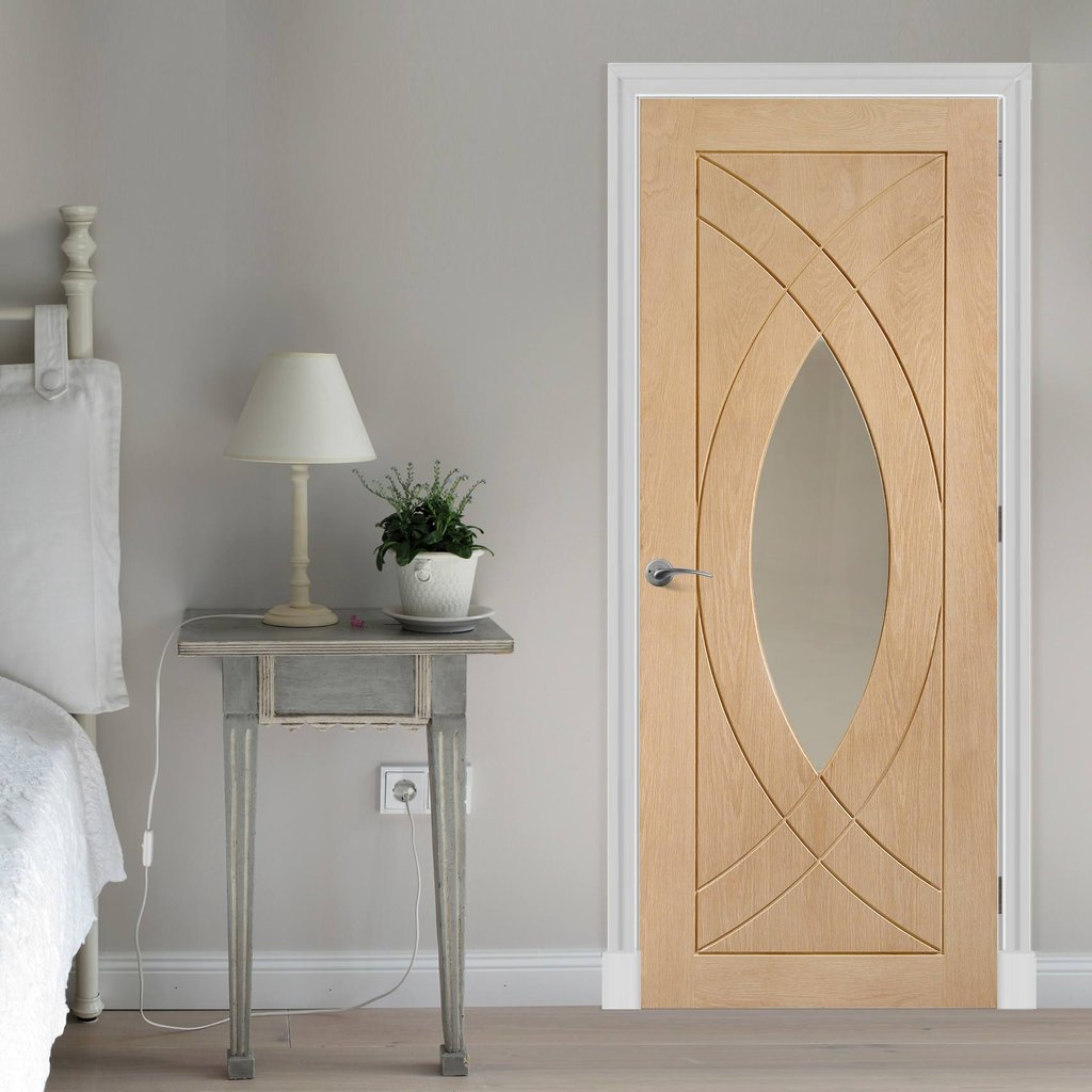 Glazed bespoke oak veneer interior door design