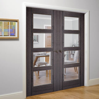 Image: Vancouver Ash Grey 4 Pane Door Pair - Clear Glass - Prefinished