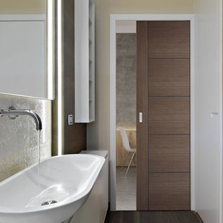 Image: Vancouver Chocolate Grey Single Evokit Pocket Door - Prefinished