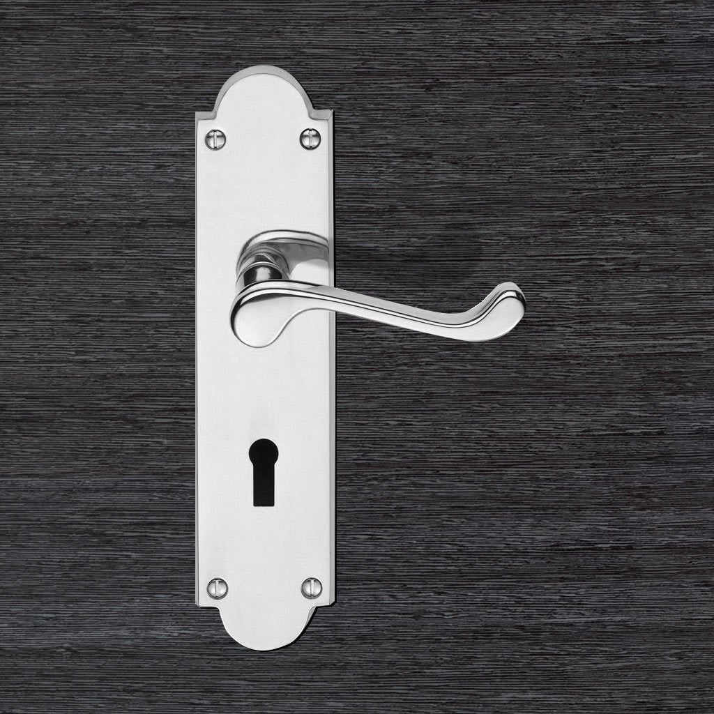 Sale - Victorian Scroll Lever Lock on Shaped Backplate - M68CP