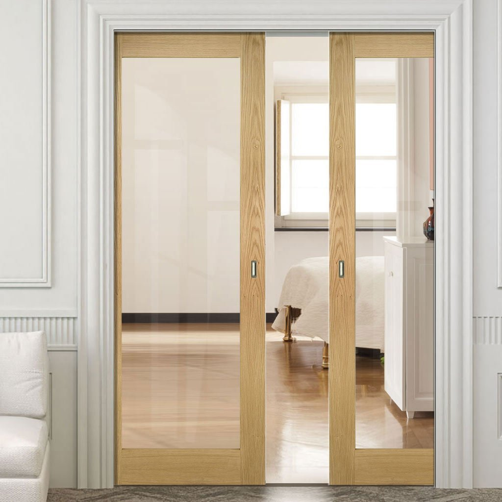 Walden Real American Oak Veneer Double Evokit Pocket Doors - Clear Glass - Unfinished