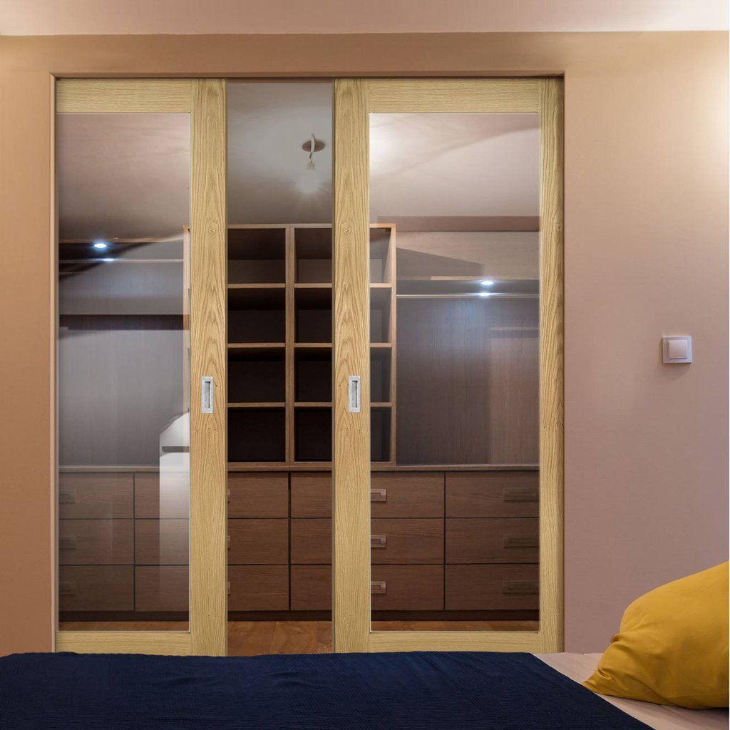Walden Oak Absolute Evokit Double Pocket Doors - Clear Glass - Unfinished