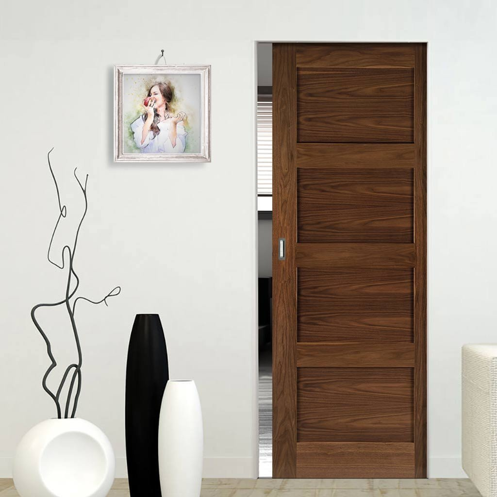 Coventry Walnut Shaker Style Absolute Evokit Single Pocket Door - Prefinished