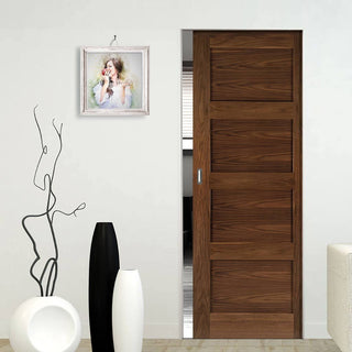 Image: Coventry Walnut Shaker Style Absolute Evokit Single Pocket Door - Prefinished