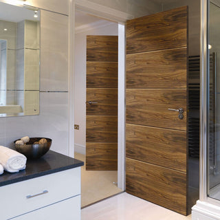Image: Modern flush interior door walnut veneered