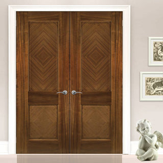 Image: Kensington Walnut Prefinished Door Pair - 2 Panels