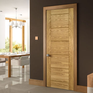Image: Seville Oak Panel Fire Door - 1/2 Hour Fire Rated - Prefinished