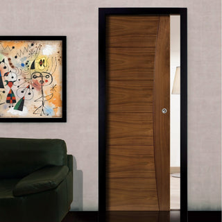 Image: Pamplona Walnut Single Evokit Pocket Door - Prefinished