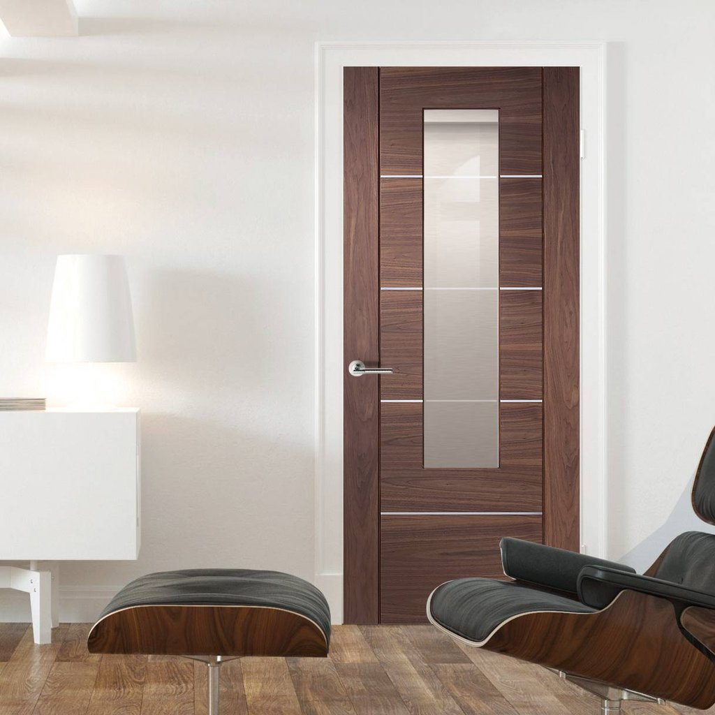 Walnut veneer intrior modern door with safety glazing