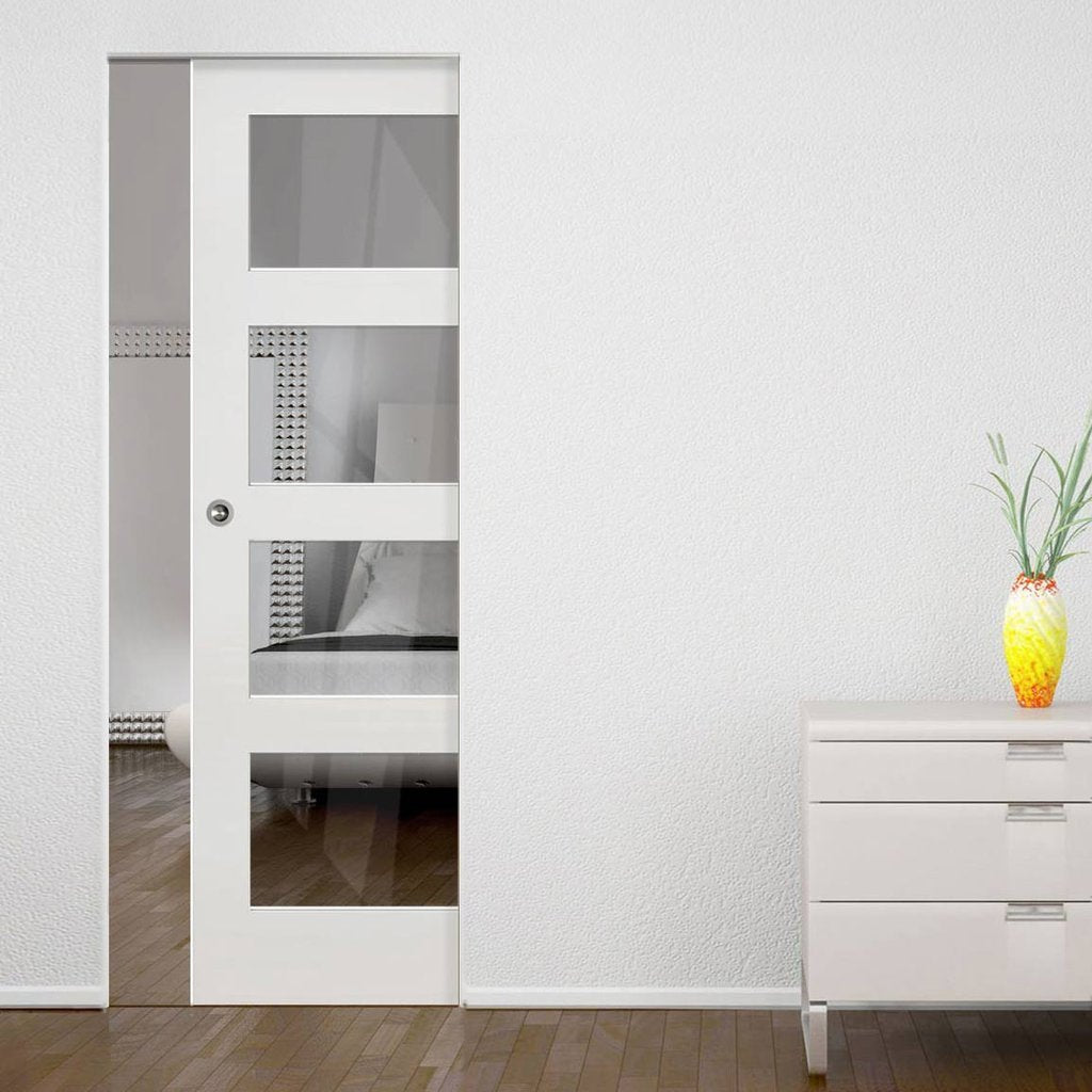 Coventry Shaker Absolute Evokit Single Pocket Door - Clear Glass - White Primed