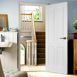 Image: Victorian Shaker 4 Panel Door - White Primed
