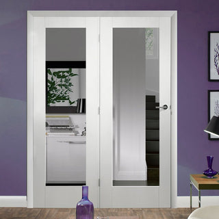 Image: Easi-Frame White Primed Door Set - GWPP10-COEOP32L - 2005mm Height - 1432mm Wide.