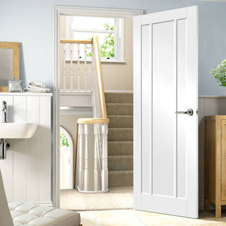 Image: Worcester 3 Panel Fire Door - 1/2 Hour Fire Rated - White Primed