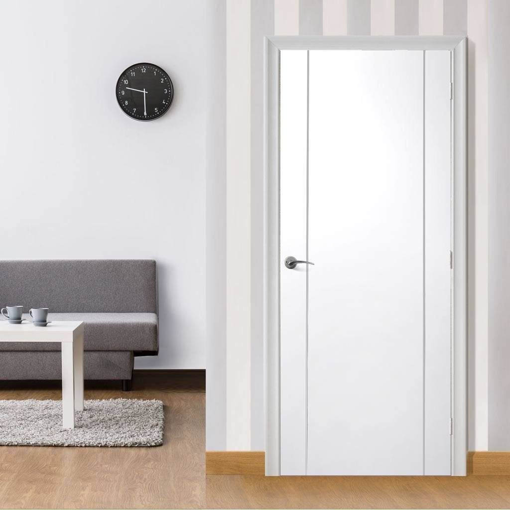 Bespoke Forli White Flush Door - Aluminium Inlay - Prefinished - From Xl Joinery