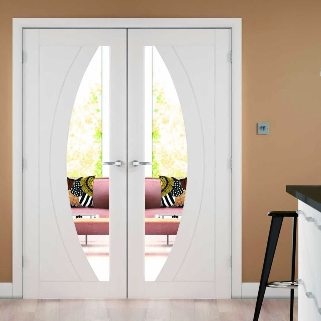 Simpli Double Door Set - Salerno Door - Clear Glass - White Primed
